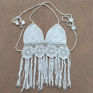 2016 New Limited Handmade Tassel Knitting Crochet Bra swimwear Tank Top Vest for Womens Summer Gift-52