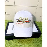 GUCCI new men and women models embroidery classic letters casual wild baseball cap white