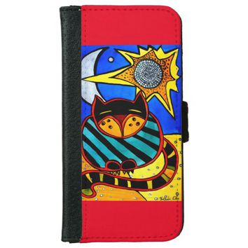 Sun and Moon Whimsical Cat Art Wallet Phone Case For iPhone 6/6s