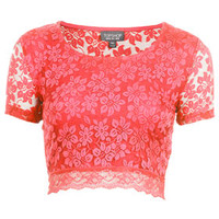 Lace Crop Tee - Jersey Tops  - Clothing