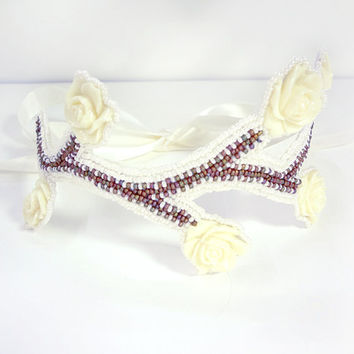 Ivory Vines  Beaded Wedding Headband on by MegansBeadedDesigns