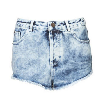 Faux Leather Patch Custom High Waisted Denim Shorts