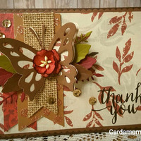 Thank you Card, Handmade Card, Fall Card,  Autumn Handmade Card, Greeting Card, Butterfly Card, All occasion Card