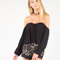 Off the Shoulder Flowy Cropped Top