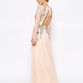 Frock and Frill Scallop Bust Embellished Maxi Dress With Open Back