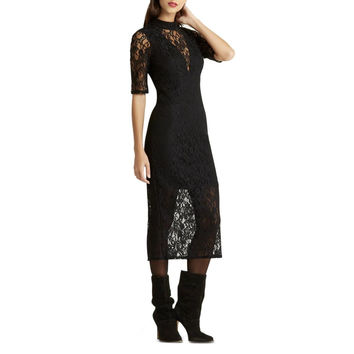 BCBGeneration Womens Lace Mock Turtleneck Cocktail Dress