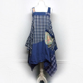 Long Lagenlook Style Tunic, Shabby Chic Pinafore,  Long Smock, Boho Chic Clothing, Women's Upcycled Clothing by Primitive Fringe