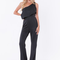 Isa Off-Shoulder Ruffle Jumpsuit - Black