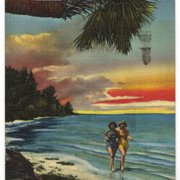 Florida vintage linen postcard | bathing beauties |  coastal decor | retro pinup art | tropical decoration | beach | beachy | 1940s