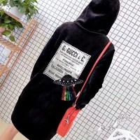 DCCKH3L Gucci' Women Casual Fashion Velvet Sequin UFO Letter Pattern Long Sleeve Medium Long Section Thickened Hooded Sweater Dress