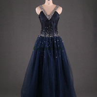 floor length prom dresses with sequins unique v-neck party dress in tulle beaded taffeta evening gowns vintage prom dress
