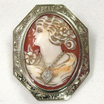 Vintage 10K White Gold Habille Diamond Cameo Pin Left Facing