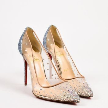 ONETOW Christian Louboutin New Beige Metallic Silver Mesh Crystal  Follies  Pumps SZ 38