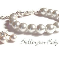 Baby Pearl Bracelet and Earring Set, Baby Jewelry, Baby Pearls, Baby Gift, Girls Bracelet, Kids Jewelry, Gift Set (B10)