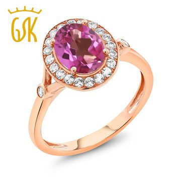 2.16 Ct Oval Pink Mystic Topaz White Created Sapphire 10K Rose Gold Ring
