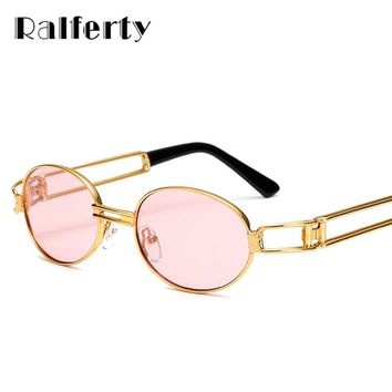 Ralferty Vintage Small Steampunk Goggles Oval Sunglasses Women Men Retro Gothic Sun Glasses Gold Frame Eyewear Pink Punk Oculos