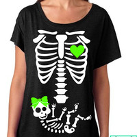 Halloween Baby Skeleton Mommy Shirt - Ti-Blend Dolman Shirt - Fast Shipping - Maternity Shirt