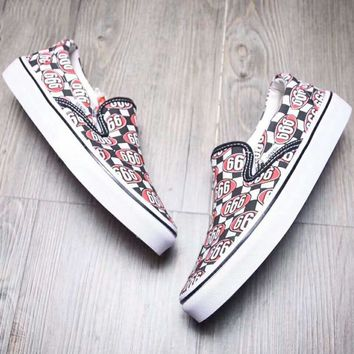 Vans Fashion Casual Classic Slip-on Print Canvas Leisure Shoes Red G-A-YYMY-XY