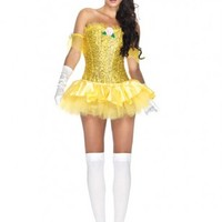 Yellow 3 PC Enchanting Beauty Costume @ Amiclubwear costume Online Store,sexy costume,women's costume,christmas costumes,adult christmas costumes,santa claus costumes,fancy dress costumes,halloween costumes,halloween costume ideas,pirate costume,dance co