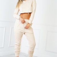 Keep It Casj Sweat Set - Nude