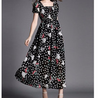 Polka Dots and Floral Print Short Sleeve Bohemian Beach Maxi Dress