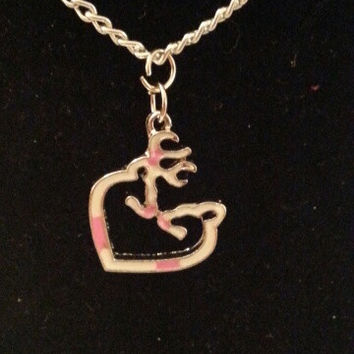 Pink and white browning buck and doe kissing heart style necklace, earrings, key ring