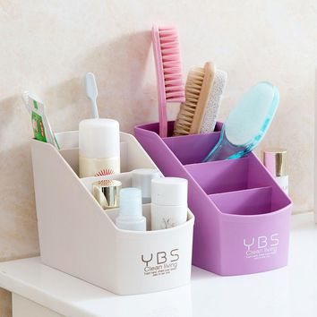 Multifunctional Desk Organizer 4 Slots Desktop Storage Box Case Pen Pencil Holder Plastic Cosmetics Make Up Organizer Container