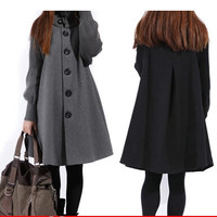 Sale Casacos Femininos Outwear Coat Abrigos Mujer Autumn And Winter Cloak Outerwear Women Wool Coat Long Maternity Clothing #C5
