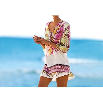 New Arrivals Beach Caftan Swimsuit Cover up Print Chiffon Pareo Women Robe Plage Swimwear Dress Sexy Sarong Beach Tunic