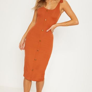 Burnt Orange Ribbed Tie Shoulder Tortoise Shell Button Down Midi Dress