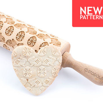 Easter egg & bunny - Engraved rolling pin for cookies