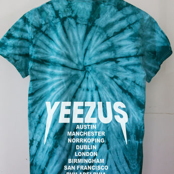 Yeezus Tour Seafoam Green Teal tie dye T Shirt tour dates yeezy jumpan kanye west yeezus merch TLOP the life of pablo season 1 3