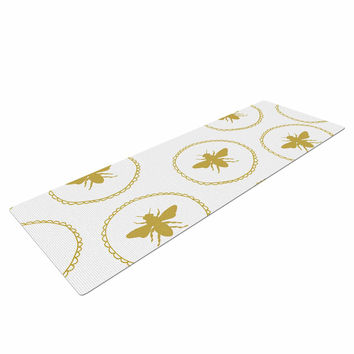 "Jennifer Rizzo ""Busy As A Bee White And Maize"" Yellow Nature Yoga Mat"