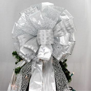 Silver Lame Sparkle Mesh Christmas Tree Topper Bow