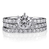 Sterling Silver Round Cubic Zirconia CZ Stackable 3 Ring Set #r024