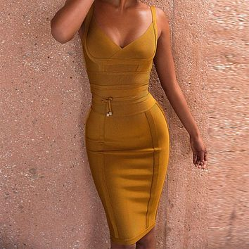 Spaghetti Strap V-Neck Runway Sexy Bandage Dress