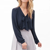 Bow Collar V-neck Cuff Sleeve Blouse