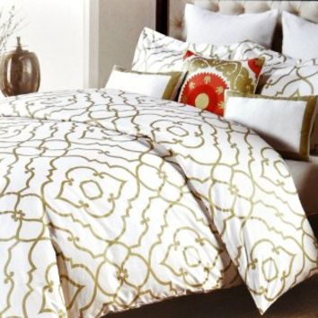 Nicole Miller Home Duvet Cover 3 Piece Set Moroccan Quatrefoil Lattice Gold Ivory (King)