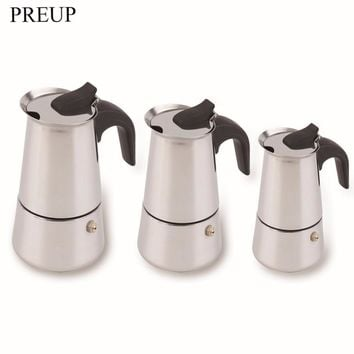 PREUP Stainless Steel Moka Coffee Maker Mocha Espresso Latte Stovetop Filter Coffee Pot Percolator Tools 100ML 200ML 300ML