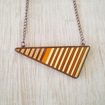 Geometric Triangular Necklace Orange Brown Recycled Paper Jewelry Eco-Friendly Jewelry Modern Minimal / Τριγωνικό Μενταγιόν