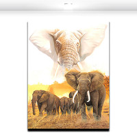 African Elephant Group Animal Painting Modern Artwork Canvas Print Wall Art for Living Office Wall Decor