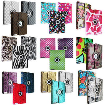 iPad 2 360 Rotating Magnetic Leather Case Smart Cover Stand Choose from 40 Color