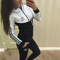 Adidas Fashion Snake Print Sport Running Pants Coat Set Two-Piece Sportswear