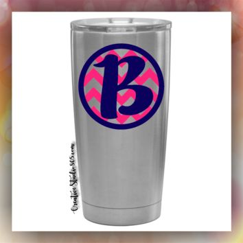 CIRCLE CHEVRON - STAINLESS STEEL MUG - monogram vinyl decal designs - tumblers