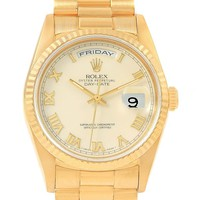 Rolex President Day-Date Yellow Gold Ivory Roman Dial Mens Watch 18238
