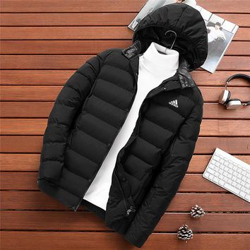 ADIDAS autumn and winter models slim thick casual men's sports hooded cotton clothes Black