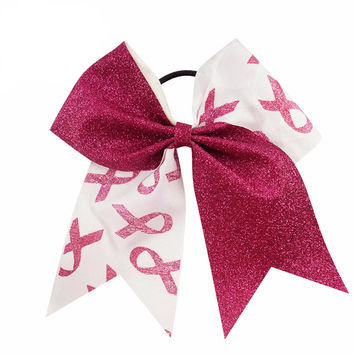 "Breast Cancer Support Cheer Bow 7"" High  Patchwork  Glitter Ribbon"
