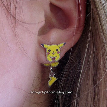 Pikachu Pokemon Clinging earrings Handmade kawaii gamer two part front and back post earrings