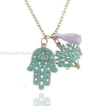 """FREE""Palm  Tree and Hamsa Necklace"