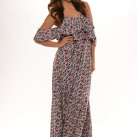 Floral Printed Off Shoulder Ruffle Maxi Dress - Navy
